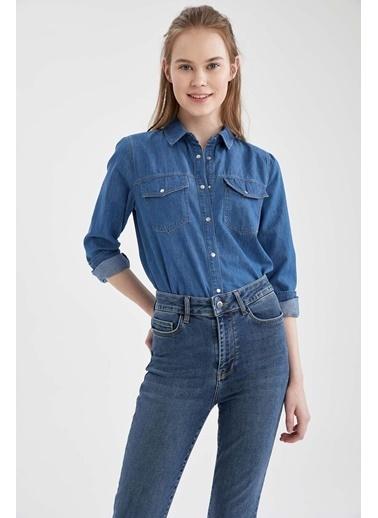 DeFacto Uzun Kollu 2 Cepli Jean Gömlek Mavi